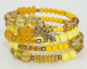 SALE- Dog Bracelet, Dog Charm Bracelet, Yellow Beaded Bracelet, Dog Charm, Memory Wire Charm Bracelet, Bronze Dog Charm