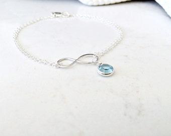 aquamarine birthstone Bracelet or anklet initial bracelet heart tag infinity bracelet personalized bracelet swarovski march birthstone