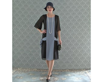 Items similar to Art deco fashion, black and grey flapper dress ...