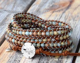 Wrap Bracelet, Beaded Wrap Bracelet,  Leather Wrap Bracelet, Sand Dollar Bracelet, Beaded Wrap, Boho Wrap Bracelet, Sand Dollar Jewelry
