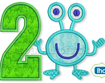 Birthday Applique Design -- Monster Birthday Applique -- Little Monster Second Birthday Applique -- Birthday Applique -- Design BI007