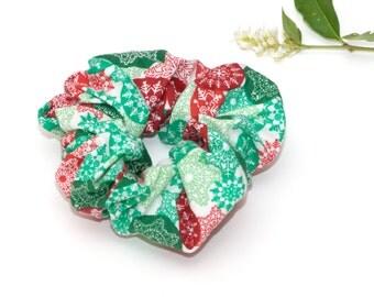 Haar Scrunchie - sneeuwvlokken Kerst Winter groen rood witte Scrunchie handgemaakte Scrunchy katoen Scrunchie Festival Fashion haaraccessoires