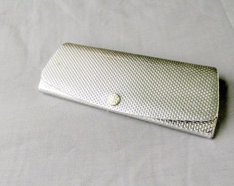 Silver Eye Glasses Case Snap Closure Sun Glasses Case Vintage Collectible Gift Item 2134