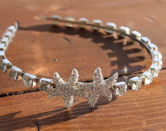 Rhinestone Starfish Headband, Small Starfish Rhinestone Headpiece, Rhinestone Headband, Small Starfish, Beach Hair Accessories,