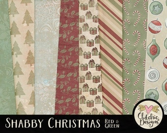 Christmas Digital Paper Pack - Shabby Christmas - Red & Green Digital Paper Backgrounds - Christmas Paper Pack