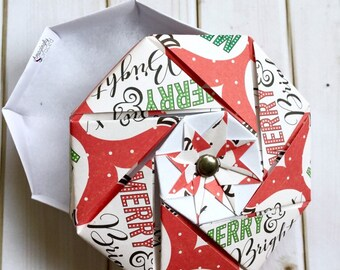 Hand-Folded Origami Merry and Bright Retro Christmas Red Green Paper Gift Box