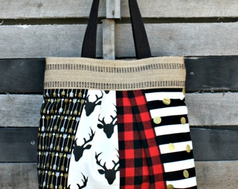 Scappy Pleated Tote Bag, Everyday Purse, Buffalo Plaid, Deer, Arrows, Metallic Gold, Stripes