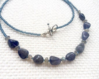 Dainty & simple, iolite and labradorite necklace. Indigo purple with blue flash crystal gemstone jewelry. long, layering casual necklace