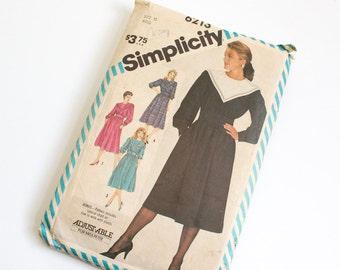 SIZE 10 6213 WOMEN'S Simplicity Sewing Pattern Vintage Dress Puff Sleeves 1983 Misses Ladies Women 1980s Eighties Bib Collar Pilgrim