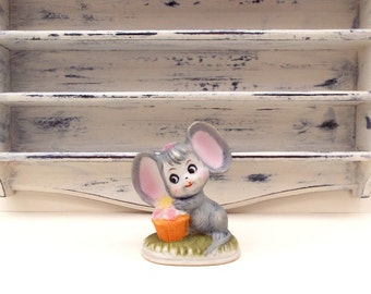 Mouse with Flowers Ornament,  Small cute mice figurine, Alfro