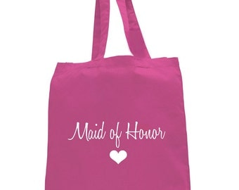 Maid Of Honor Tote Bag,Light Pink Maid Of Honor,Maid of honor gifts,maid of honor bags,Pink tote bag,pink maid of honor tote