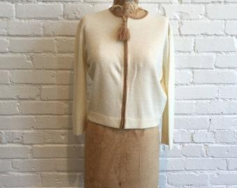 1970s Cream Cardigan // 70s Zip Up Sweater // Vintage 1970s Heritage Knitwear