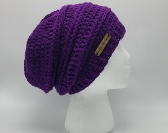Slouchy Hat | Women's Slouchy Hat | Purple Slouch Hat | Deep Purple Slouch Beanie | Woman's Fall/Winter Wear | Ready To Ship | Gift for Her