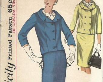 30% OFF SALE 1960s Misses' Suit Vintage Women's Sewing Pattern Simplicity 5828 Size 12 Bust 32 inches