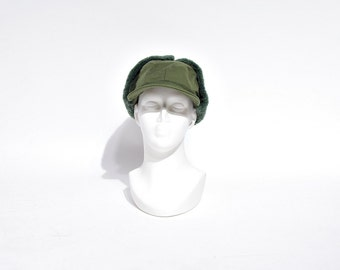 30% OFF SALE - 1966 Swedish Army Fall Winter Earflaps Cap / Size 56