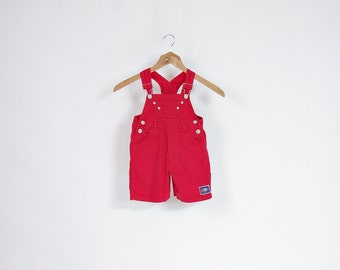 30% OFF SALE - 90s Tuffler Wear Kids Summer Red Rad Overalls / Size 86 - 12/18 months
