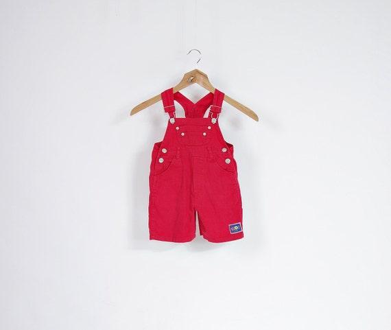 SALE - 90s Tuffler Wear Kids Summer Red Rad Overalls / Size 86 - 12/18 months