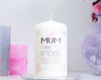 Personalised 'Mum Thank You For' Candle For Mum