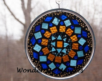 Stained Glass on Glass Mosaic - Geometric Circle Suncatcher