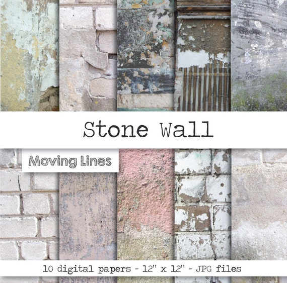 Contrast Between Stone And Plaster Finish: Stone Wall Distressed Worn Wallpaper Grunge Stone Texture