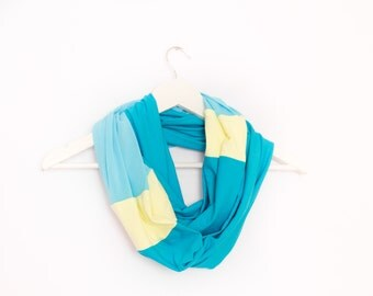 Aquamarine Scarf, Blue Infinity Scarf, Blue Yellow Scarf, Blue Loop Scarf, Cotton Scarf, Spring Scarves, Multicolor Scarf, Casual Scarf