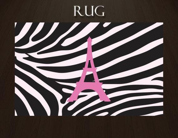 items similar to zebra print area rug pink and black zebra print rug paris rug with eiffel. Black Bedroom Furniture Sets. Home Design Ideas