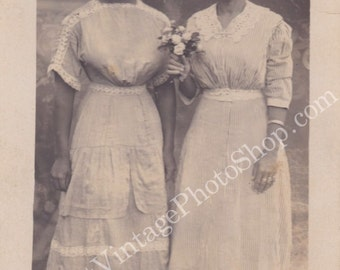 Mother and Daughter Vintage photograph-Black Americana RPPC