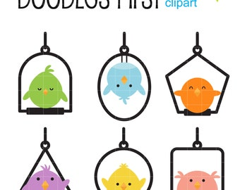 Swing Birds Digital Clip Art for Scrapbooking Card Making Cupcake Toppers Paper Crafts