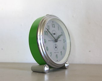 LARGE French Vintage Alarm Clock, Green Clock, Mechanical Mechanism