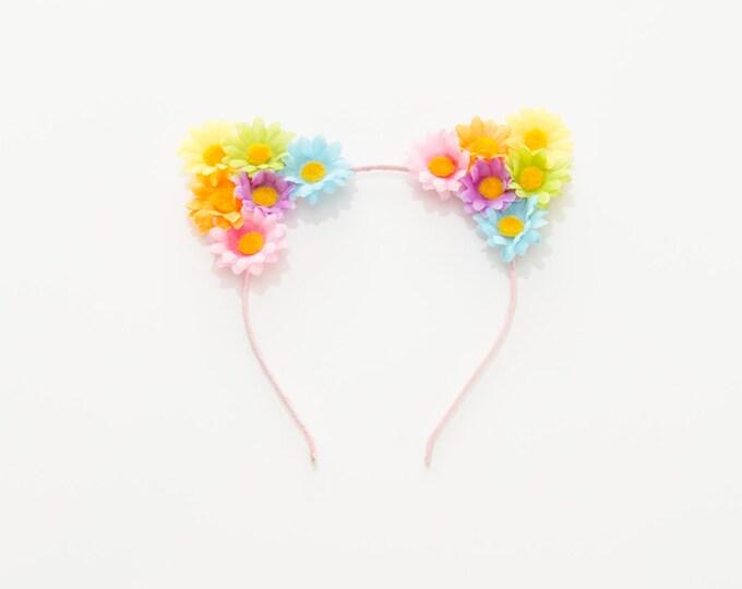Pastel Rainbow Cat Ear Headband