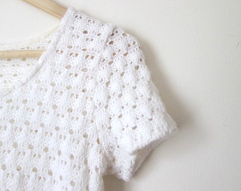 Vintage White Crochet Dress XS, Small