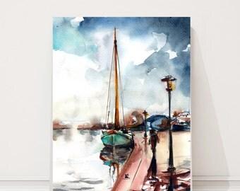 Nautical painting, ORIGINAL Watercolor Painting, sail boat painting, dock painting, watercolour art