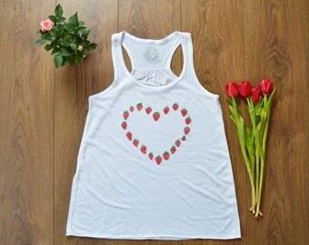 Strawberry tank/ strawberry heart Shirt /white Women's racerback strawberry heart tank shirt