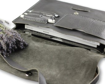 Posh messenger bag #toxleather   Gray leather messenger   Handmade courier bag   Leather satchel