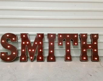 "Light Up Letters 21"" Metal Distressed Chocolate Brown Marquee - CUSTOM COLORS AVAILABLE"