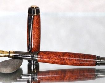 Entrepreneur Series Fountain Pen: Amboyna Burl with 24kt Gold and Gunmetal