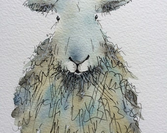 Sybil the sheep - Original watercolour painting