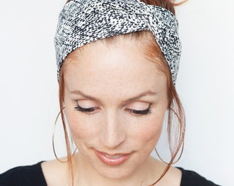 Black and white Headband Minimalist Head Wrap Ink Print Womens Headband Hair Accessories Turban Gift for her Christmas stocking stuffers