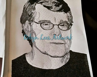 """Stephen King Stippling 8""""x10"""" Artwork Print, Originally Created in Ink with Dots"""