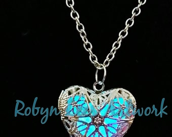 Blue Glow In The Dark Filigree Heart Necklace in Silver on Various Lengths of Crossed Chain
