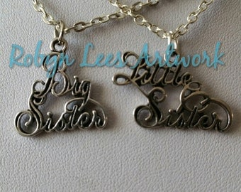 Small Silver Big Sister & Little Sister Charm Necklace Set of 2 Necklaces on Silver Crossed Chain or Black Faux Suede Cord, Sisters