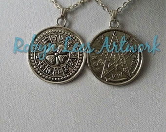 Silver Tetragrammaton Pentacle & Zodiac Amulet Talisman Necklace on Silver Crossed Chain or Black Faux Suede Cord, Pagan Wiccan