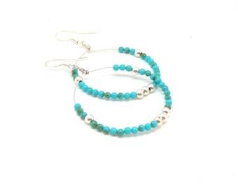 Turquoise boho earrings ~ Boho jewelry ~ Hoop earrings ~ Boho hoops ~ Beaded earrings ~ Silver jewelry ~ Gift idea for her ~ Green earrings