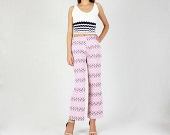 Vintage 70s Trousers // Zig Zag print, vintage pants, vintage trousers, boho, bohemian, 70s, 1970s vintage, pink pants