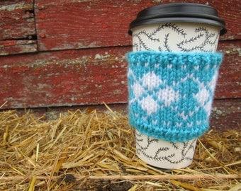 Fair Isle Coffee Cup Cozy, Handknitted