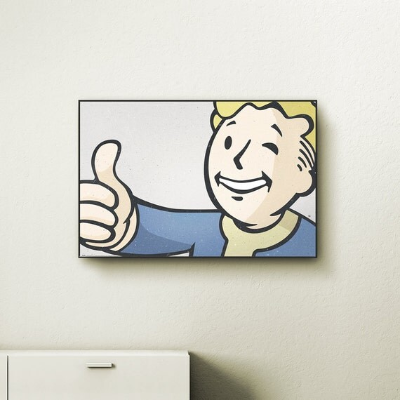 Fallout 4 vault boy wall art choose either a canvas float for Fallout 4 canvas painting