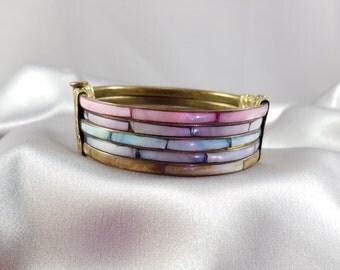Vintage Hinged Brass Bracelet Pastel Pearlized Insets
