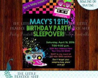 80's Sleepover Teen Tween Neon Glow Digital and Printable Birthday Party Invitation