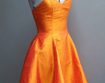 Vintage 50s Style 90s Orange Silk Rockabilly Pinup Dress XS