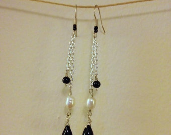 freshwater pearl chain dangle earrings